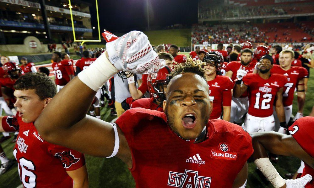 Arkansas State wide receiver Blake Mack (24) celebrates after Arkansas State defeated Missouri State during an NCAA college football game in Jonesboro, Ark., Saturday, Sept. 19, 2015. (Guillermo Hernandez Martiznez/The News-Leader via AP) ORG XMIT: MOSPL321